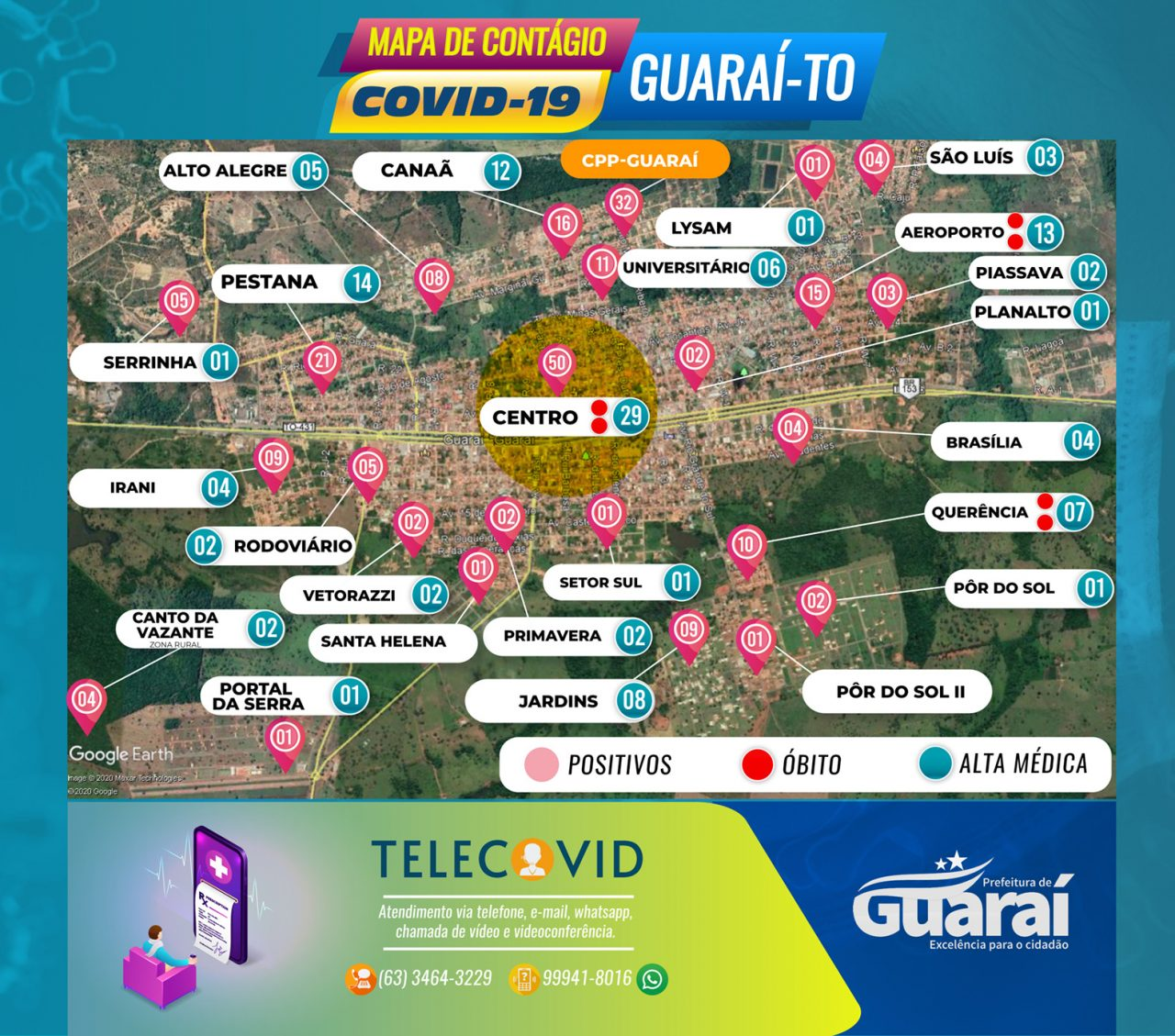MAPA GUARAI COVID19 1 DE JULHO QUARTA 1280x1129 - Painel Guaraí-TO / Covid-19 / Boletim 01 de Julho (quarta) 16:00