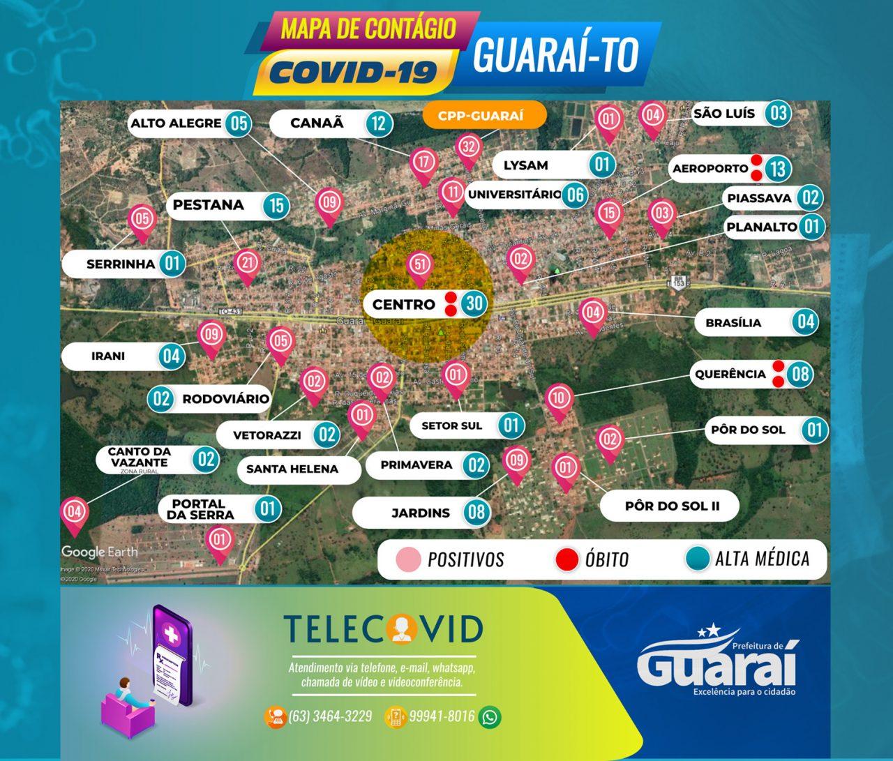 MAPA GUARAI COVID19 2 DE JULHO QUINTA 1280x1091 - Painel Guaraí-TO / Covid-19 / Boletim 02 de Julho (quinta) 12:00