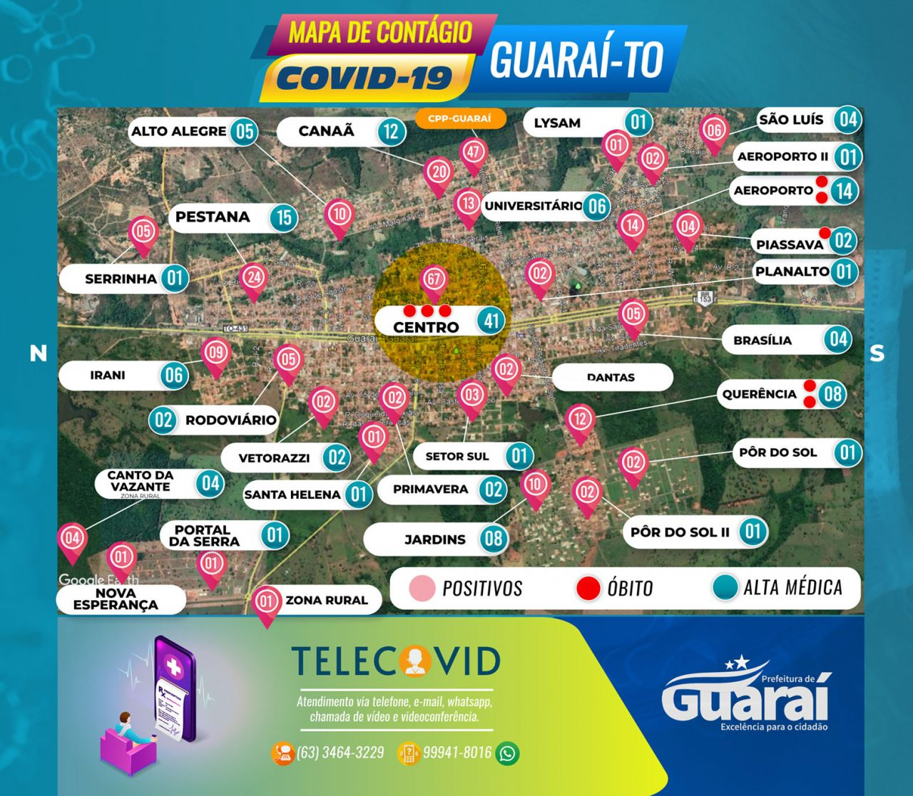 MAPA GUARAI COVID19 QUINTA 9 DE JULHO 1280x1117 - Painel Guaraí-TO / Covid-19 / Boletim 09 de Julho (Quinta) 14:00