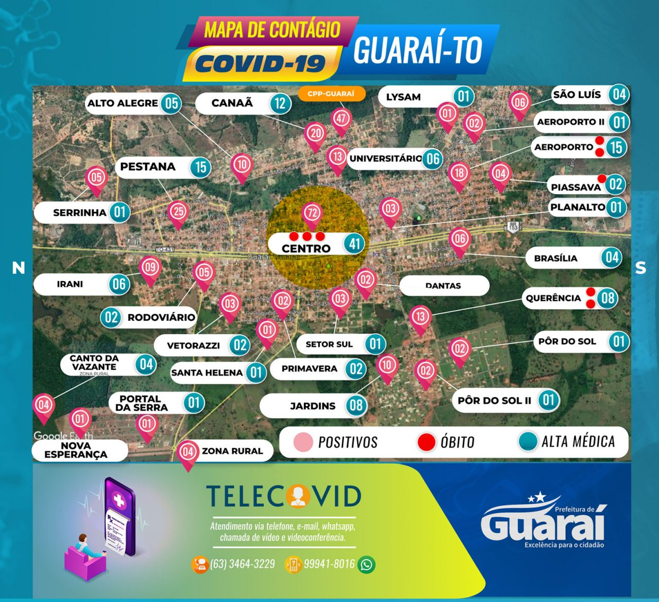 MAPA GUARAI COVID19 SÁBADO 11 DE JULHO 1280x1169 - PaineI Guaraí-TO / Covid-19 / Boletim 11 de Julho (Sábado) 14:00