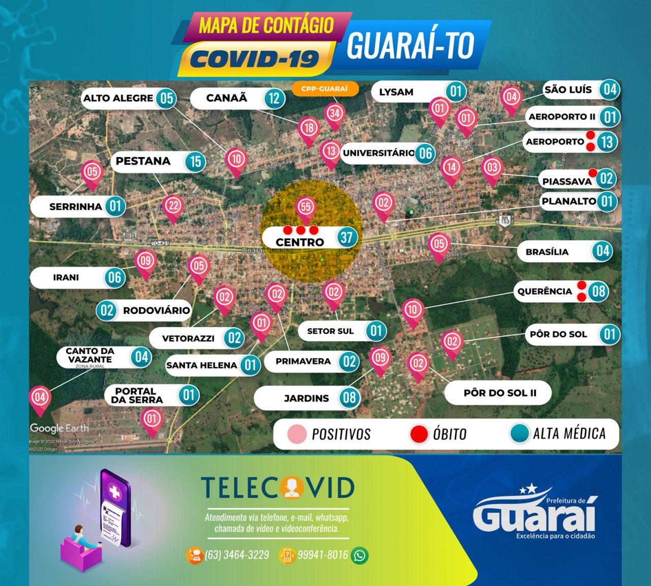 MAPA GUARAI COVID19 SEGUNDA 6 DE JULHO 1280x1152 - PaineI Guaraí-TO / Covid-19 / Boletim 06 de Julho (segunda) 14:00